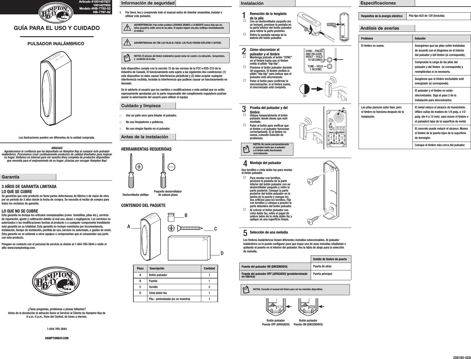 HeathCo WLTX202-A Wireless Door Chime Transmitter User Manual