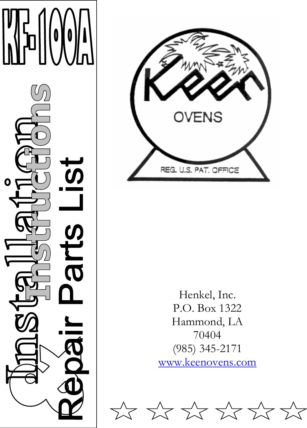 Henkel Keen Kf 100A Users Manual K 15