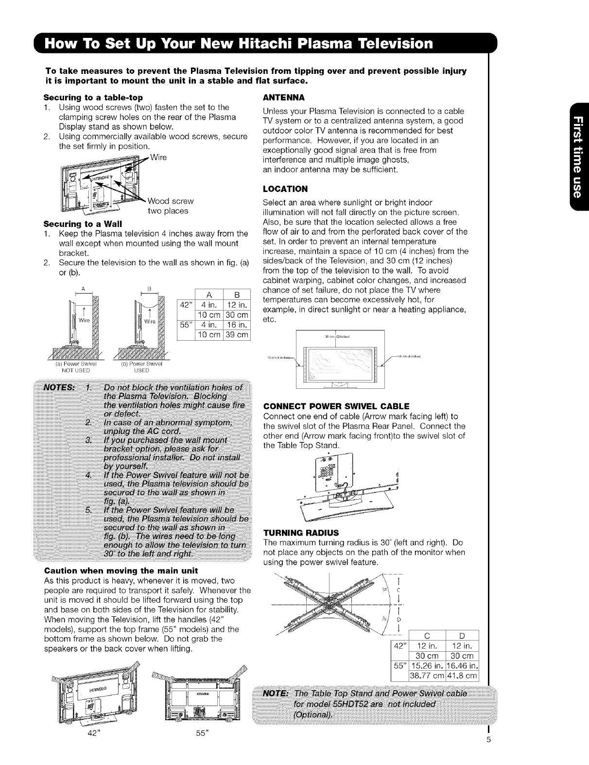 Hitachi 42HDT52 User Manual TV PLASMA Manuals And Guides