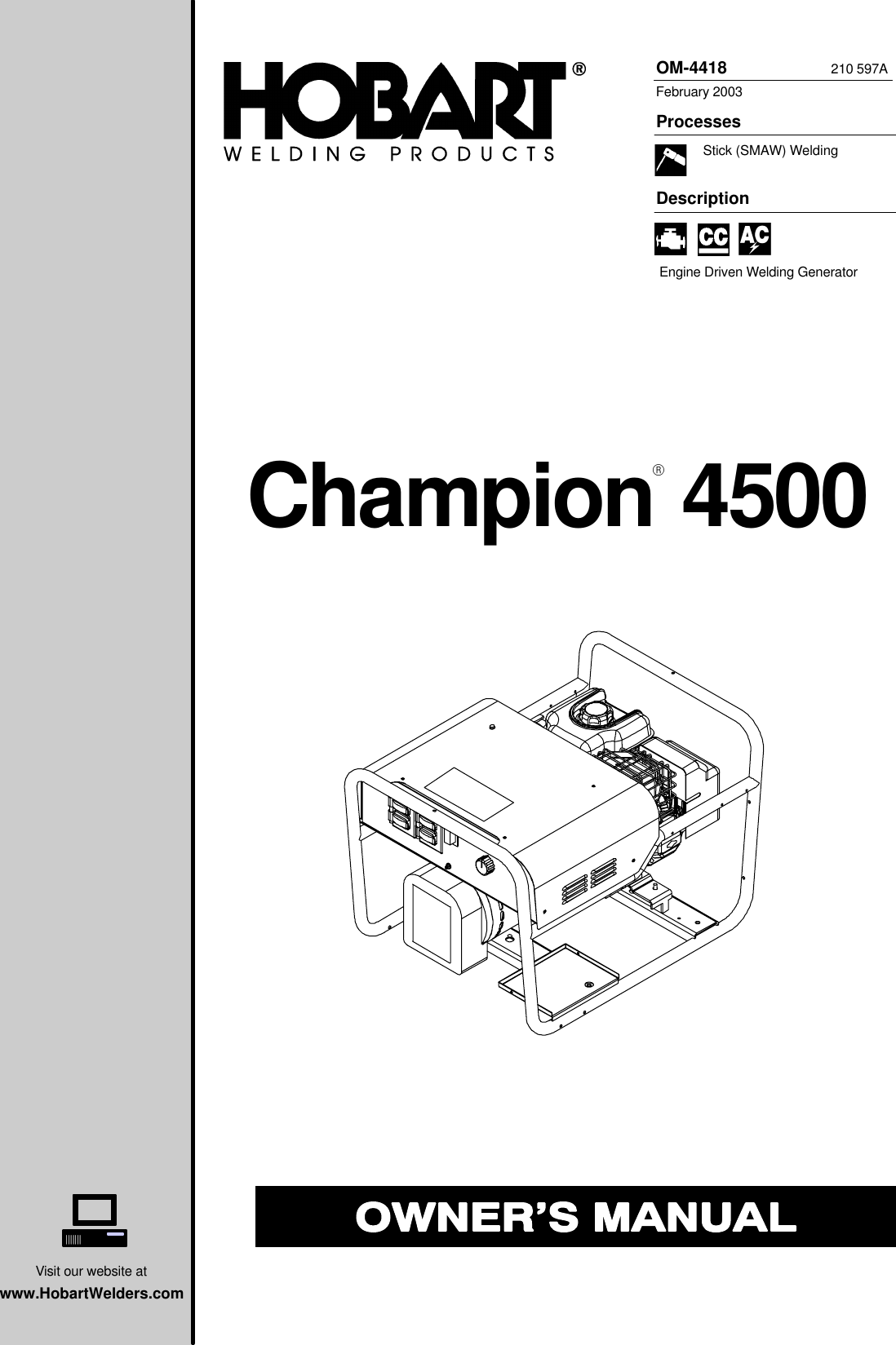 Hobart Champion 4500 Users Manual O4418a_hob