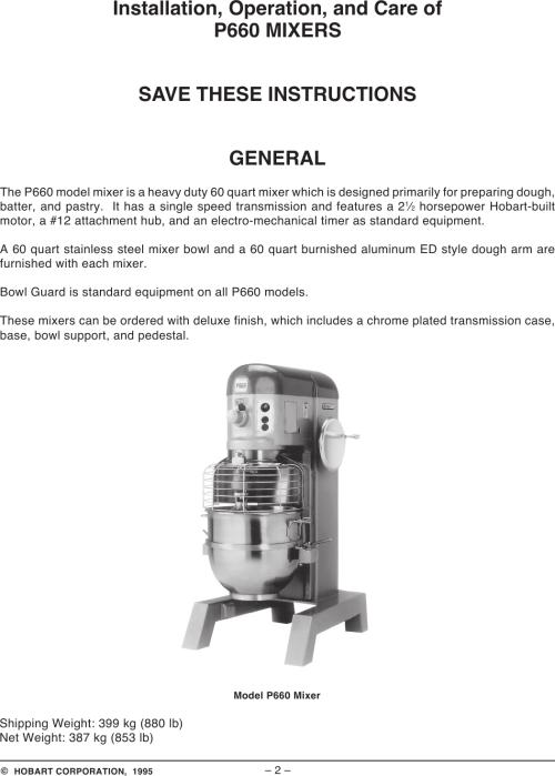 small resolution of page 2 of 12 hobart hobart p660 users manual hobart