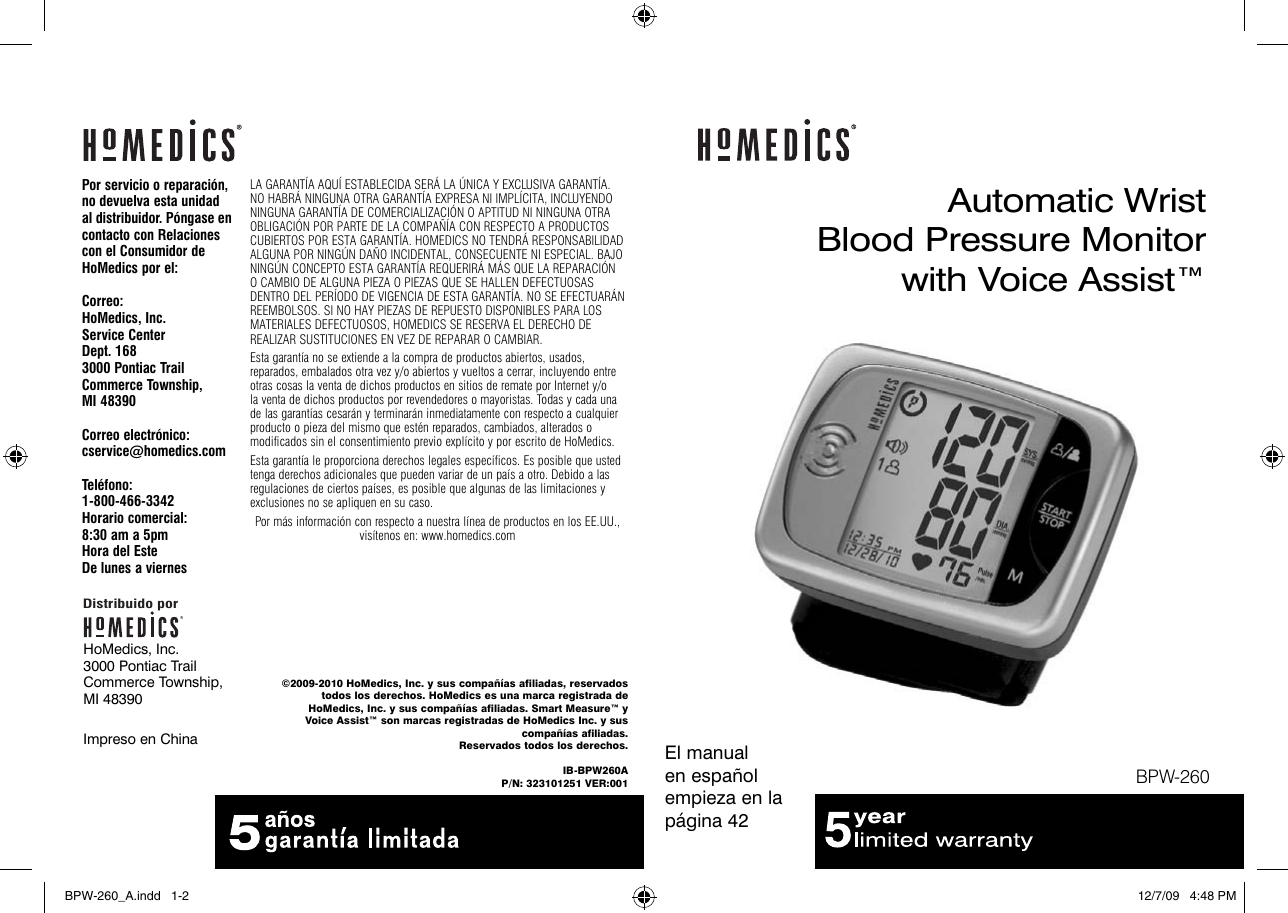 Homedics Blood Pressure Monitor Automatic Wrist With Voice