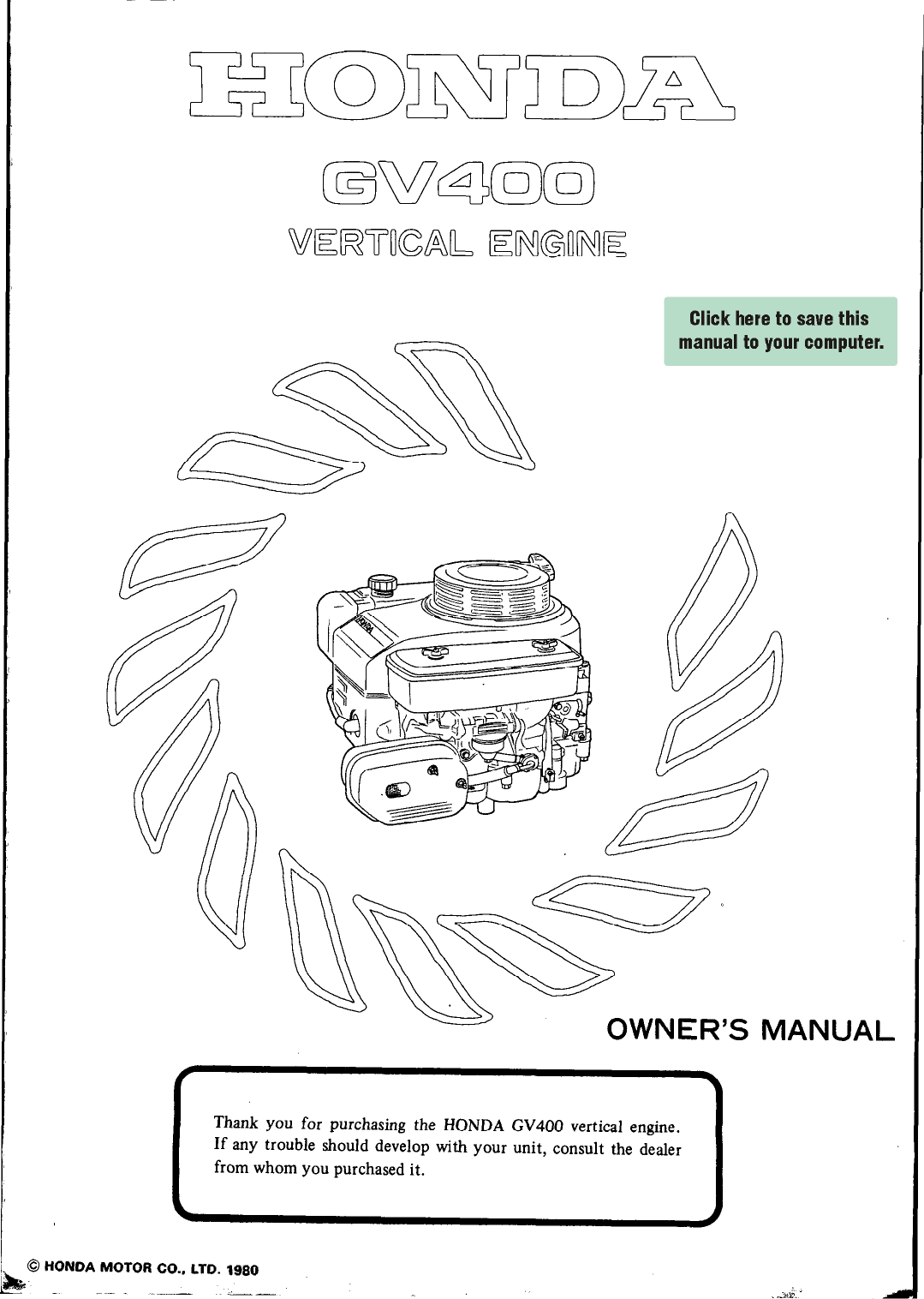 Honda Gv400 Owners Manual