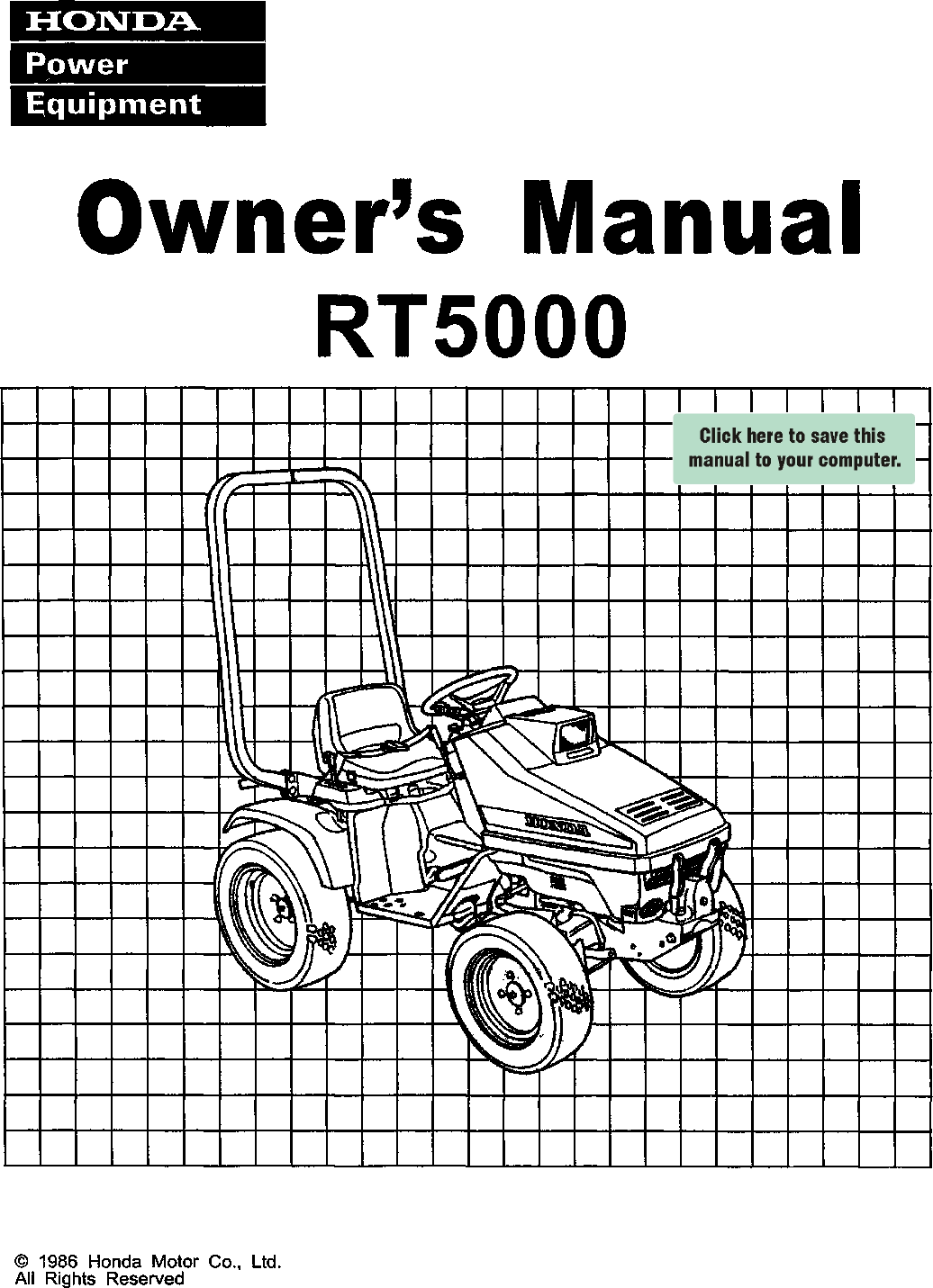 Honda Rt5000 Owners Manual