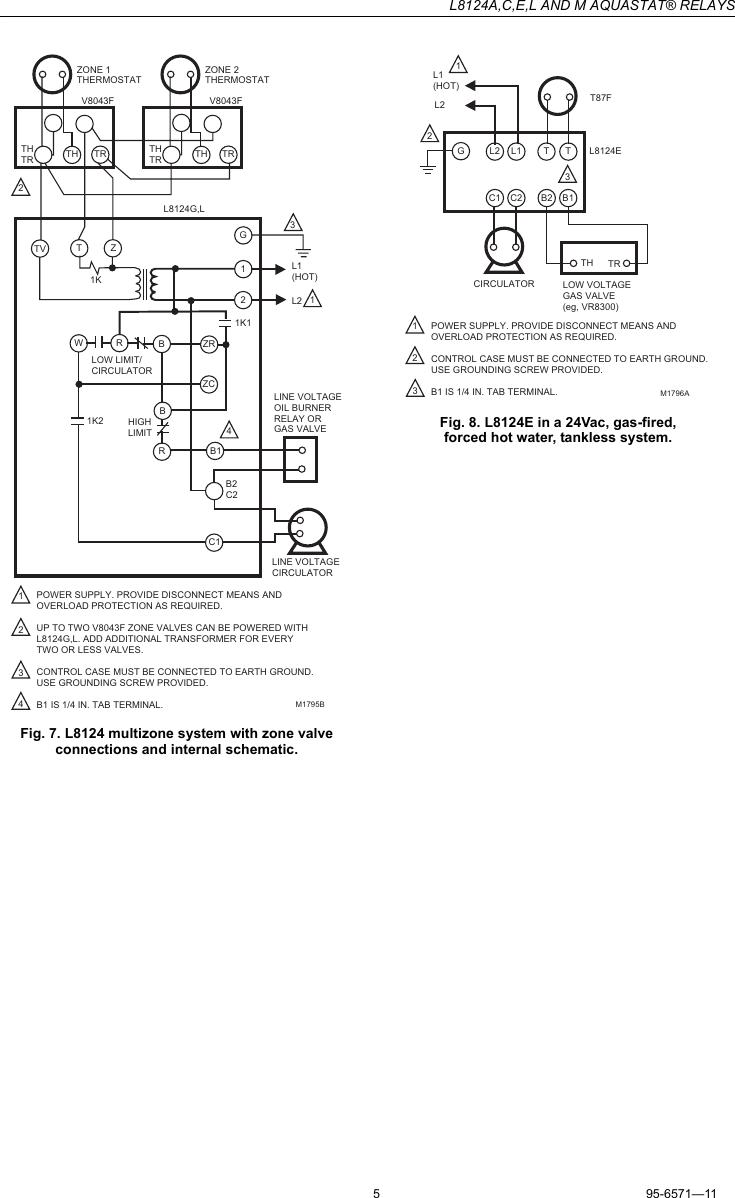 Honeywell Aquastat L8124A Instruction Manual 95 6571