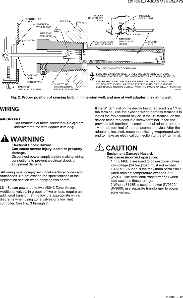 hight resolution of page 3 of 8 honeywell honeywell aquastat l8148a instruction manual