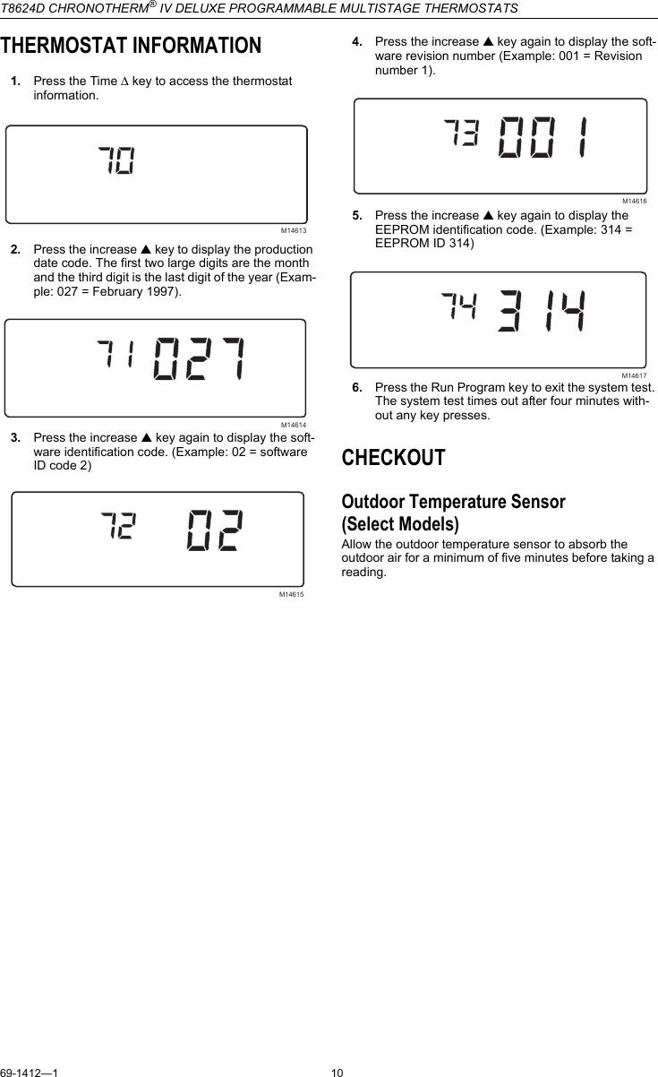 Honeywell Chronoterm Iv T8624D Users Manual 69 1412 1