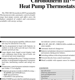 honeywell chronotherm iii t8611m users manual 68 0076 7 day programming lll heat pump thermostats [ 1007 x 1610 Pixel ]