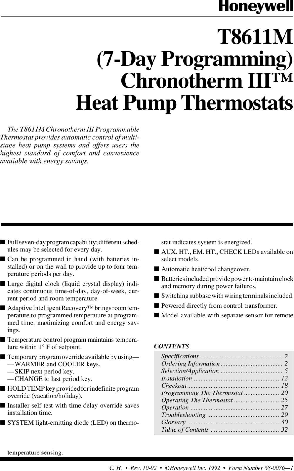 medium resolution of honeywell chronotherm iii t8611m users manual 68 0076 7 day programming lll heat pump thermostats