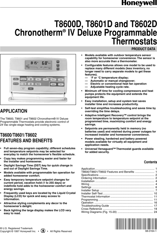small resolution of honeywell chronotherm t8600d users manual 68 0164 t8600d t8601d and t8602d iv deluxe programmable thermostats