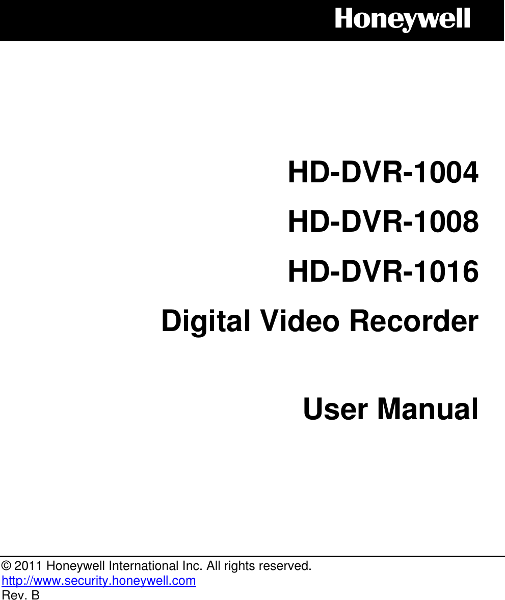 Honeywell Hd Dvr 1004 Users Manual LB User's