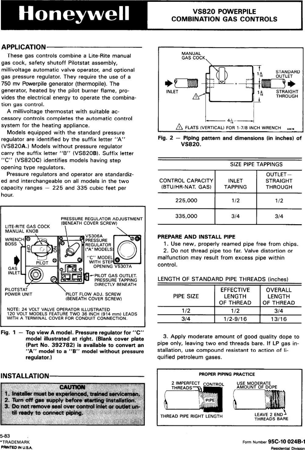 medium resolution of honeywell gas heater vs820 users manual 95c 10024b powerpile combination controls