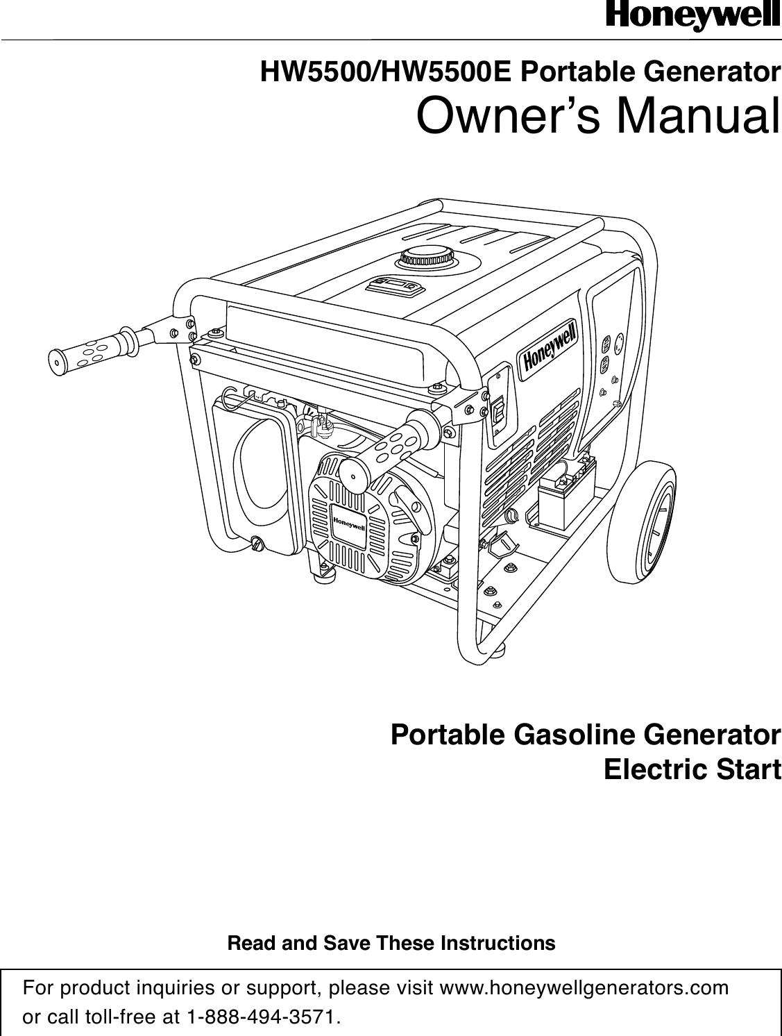 Honeywell Portable Generator Hw5500 Users Manual HW5500