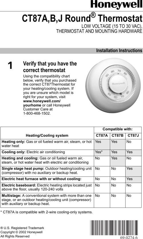 small resolution of page 1 of 12 honeywell honeywell honeywell thermostat ct87a users