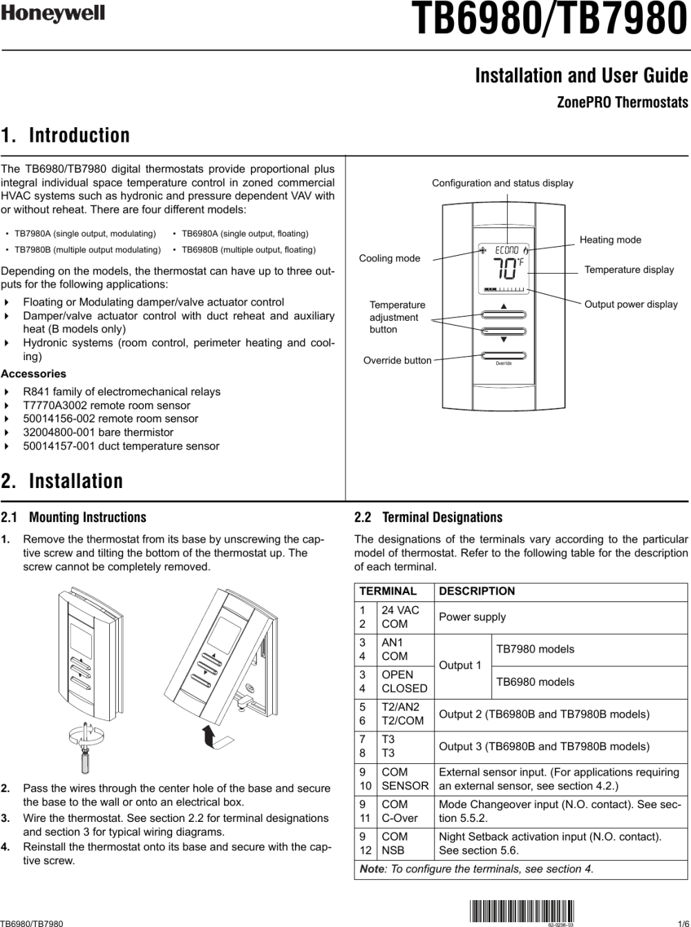 medium resolution of honeywell thermostat tb6980 users manual 62 0238 03 tb6980 tb7980 honeywell s th150 eng