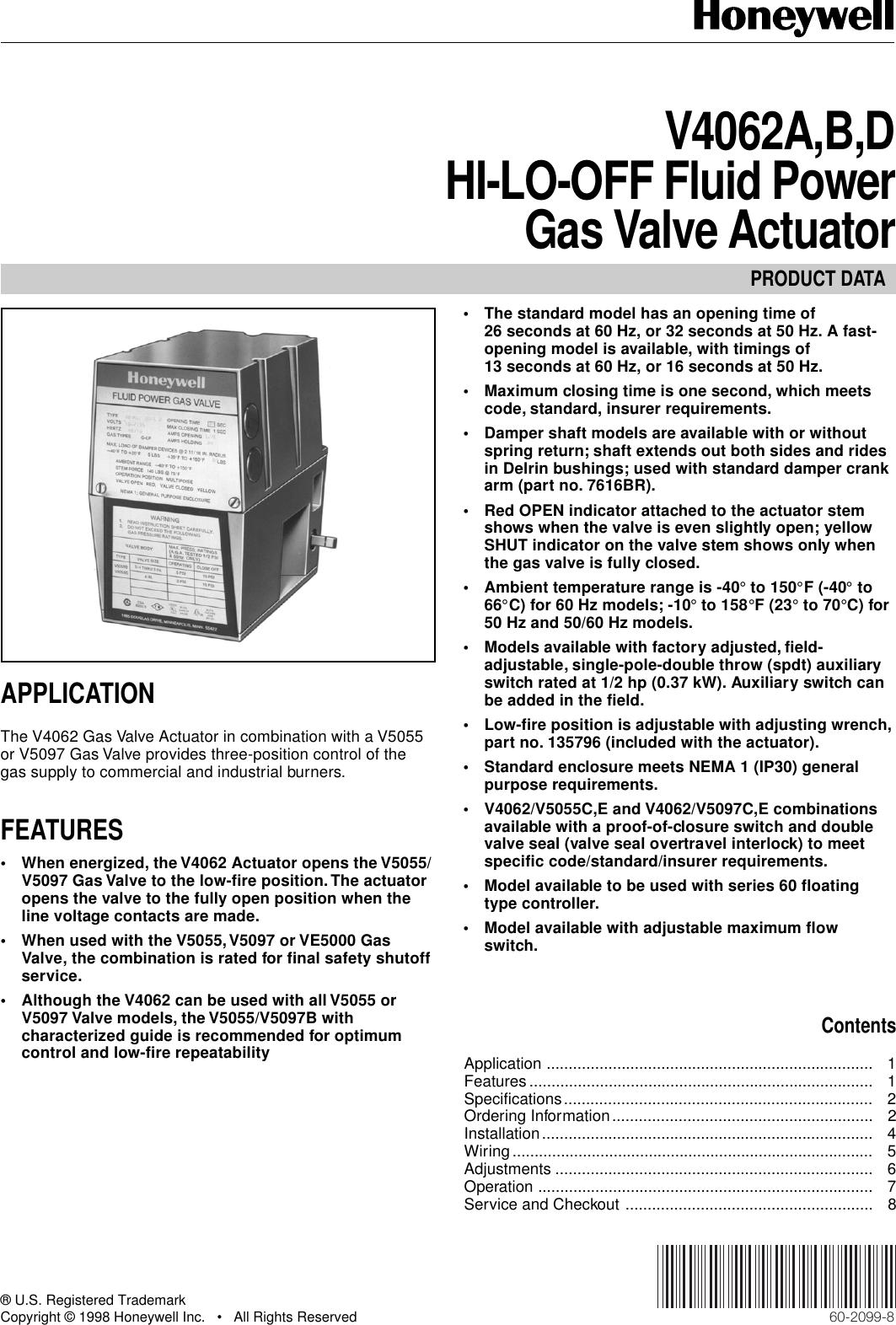 Honeywell Thermostat V4062B Users Manual 60 2099 V4062A,B