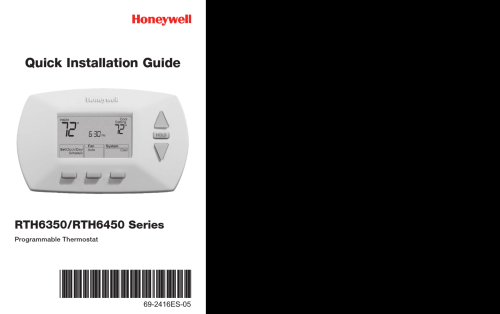small resolution of honeywell programmable thermostat rth6350 quick installation manual 1003204 user