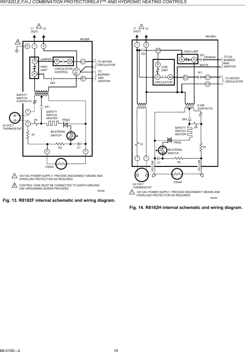 small resolution of honeywell r8182d users manual 68 0105 r8182d e f h j combination protectorelay and hydronic heating controls