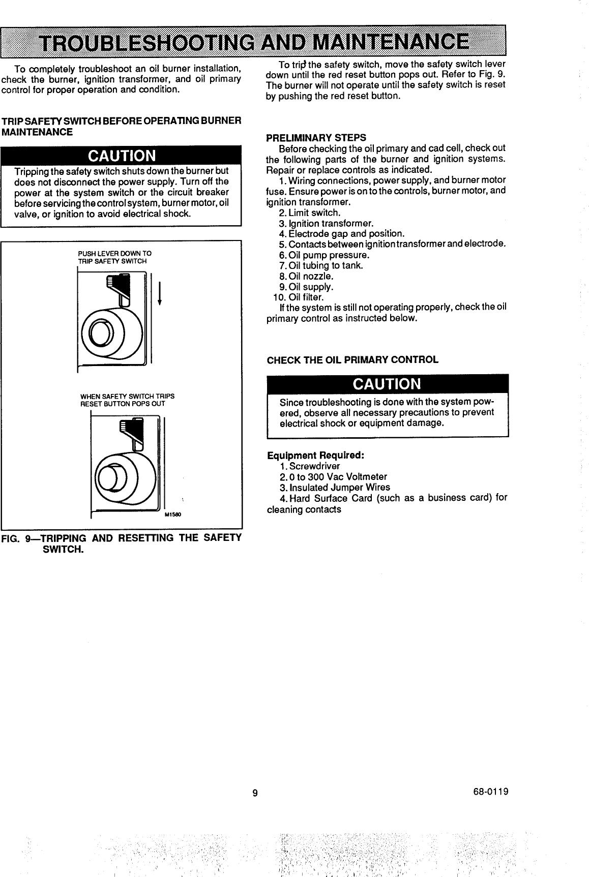 beckett oil burner wiring diagram power to light then switch reset parts