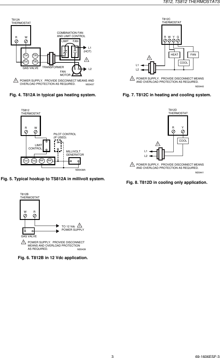 Honeywell T812C1000 Installation Instructions 69 1606ESF 3