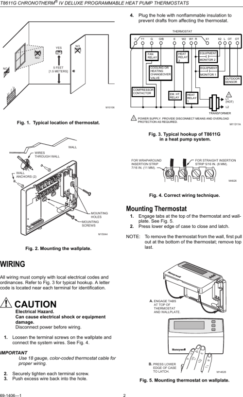 small resolution of honeywell t8611g installation manual 69 1406 chronotherm iv deluxe honeywell t8611g thermostat wiring diagram