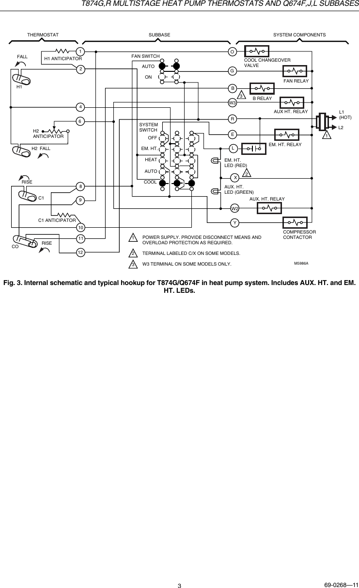 Honeywell T874G Users Manual 69 0268 T874G,R Multistage