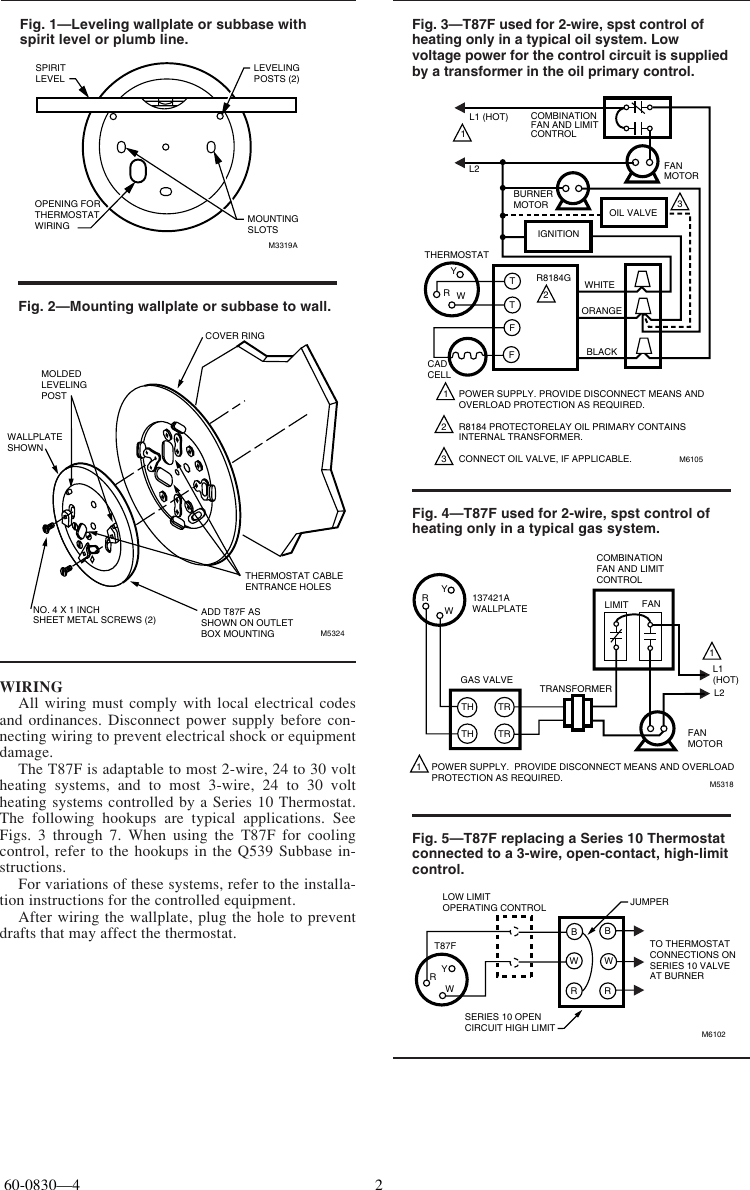 Honeywell T87F Installation Manual 60 0830 Universal
