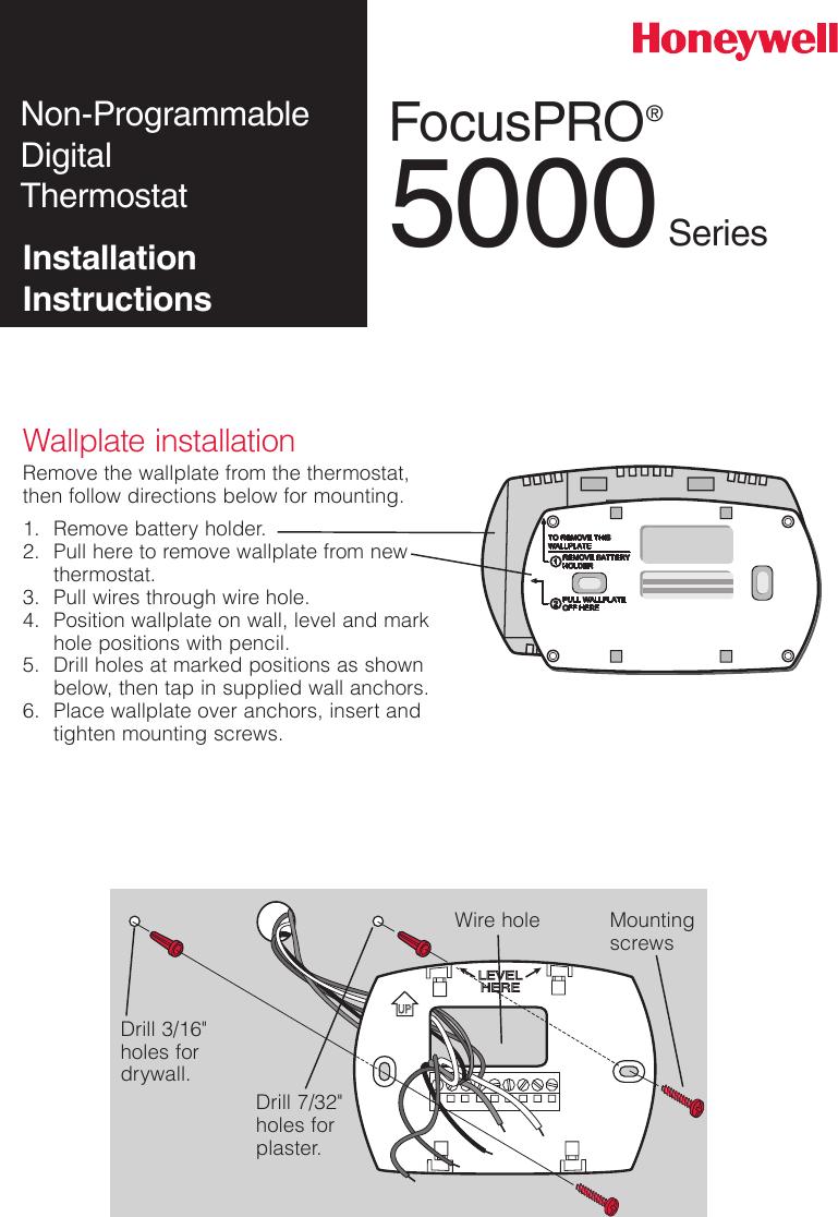 medium resolution of honeywell th5110 installation instructions 69 2698efs 03 focuspro th5000 series