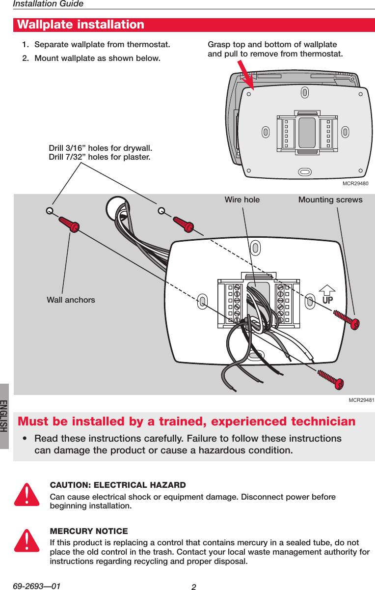 medium resolution of honeywell visionpro th8000 series installation manual 69 2693 01page 2 of 12 honeywell honeywell visionpro th8000