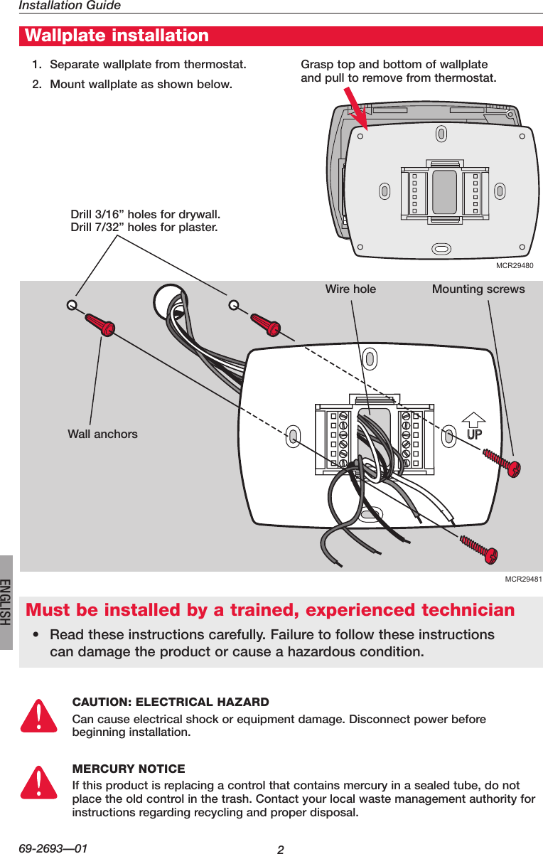 hight resolution of honeywell visionpro th8000 series installation manual 69 2693 01page 2 of 12 honeywell honeywell visionpro th8000