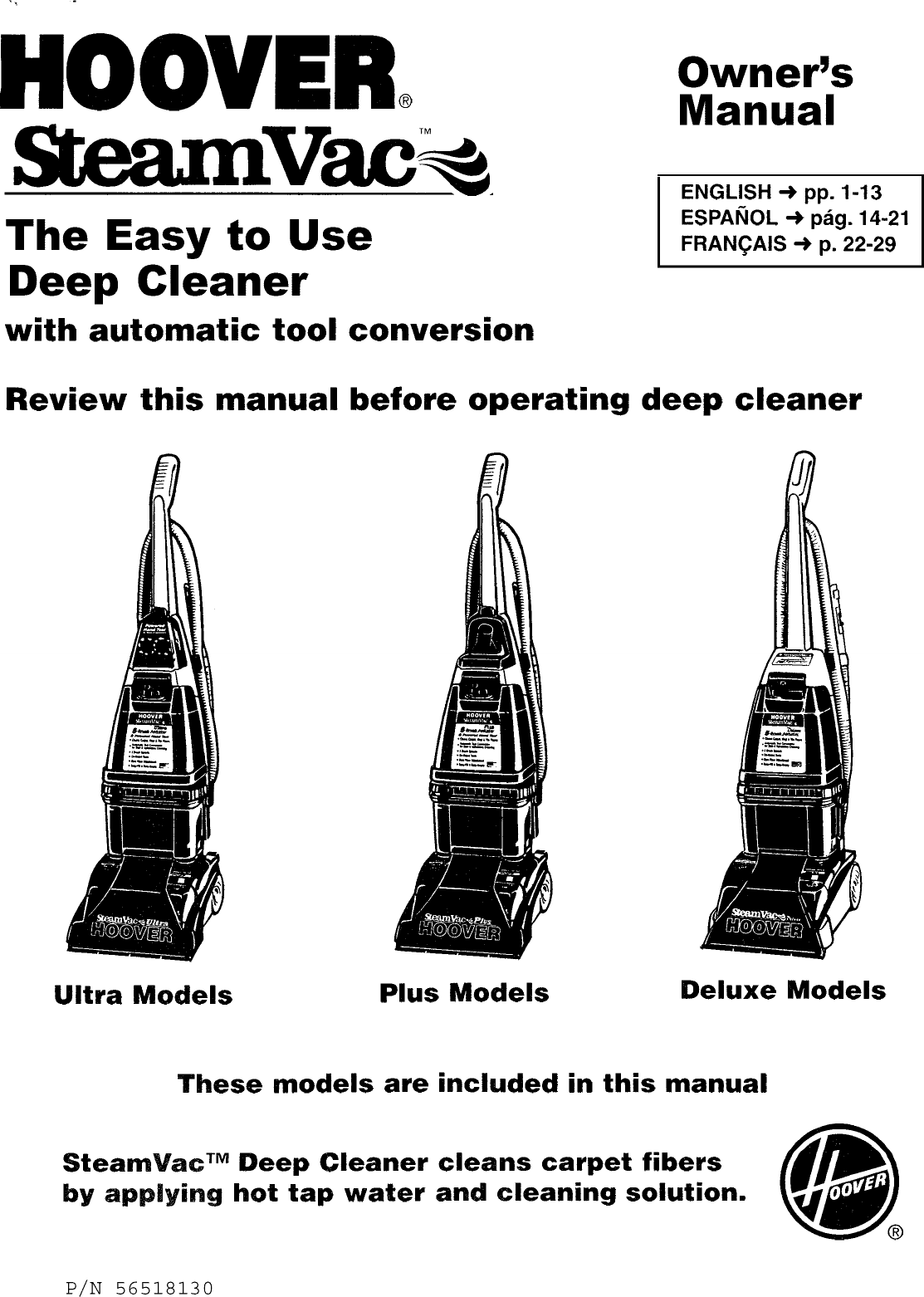 Hoover F5862 900 User Manual STEAM VAC UPRIGHT Manuals And