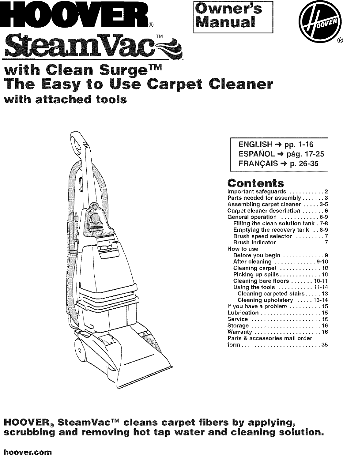 Hoover F5905 900 User Manual UPRIGHT EXTRACTOR Manuals And