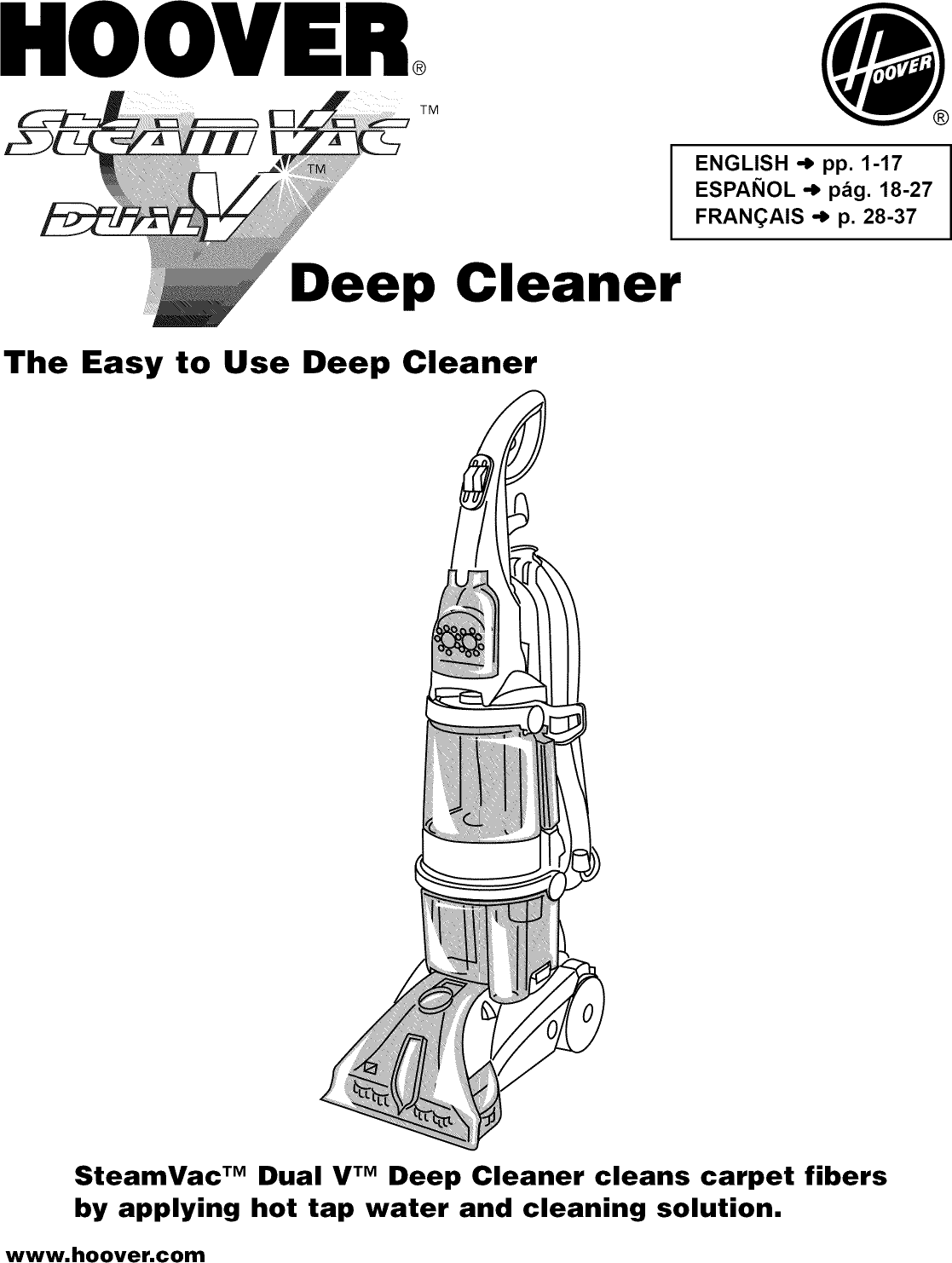 Hoover Steamvac Carpet Cleaner Operating Instructions