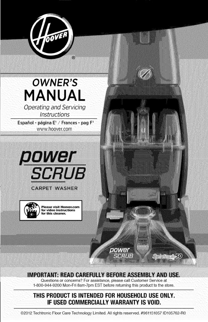 Hoover Super Scrub 50 Manual Manual Guide