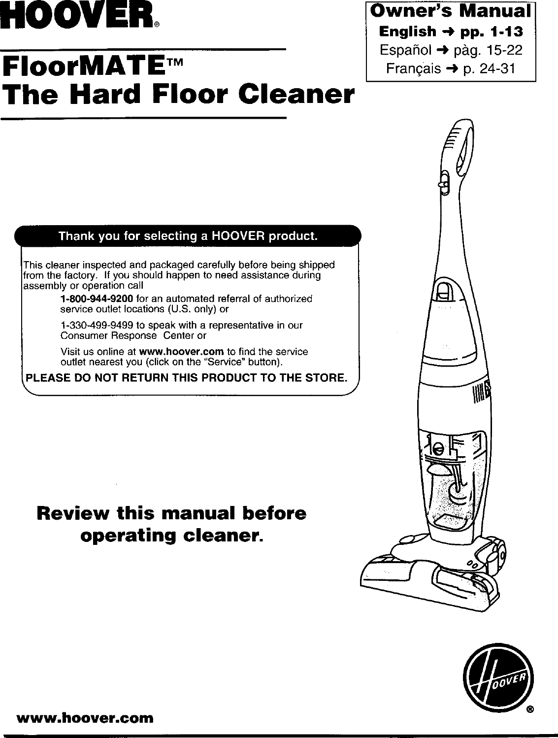 Hoover H3000 User Manual FLOORMATE Manuals And Guides L0201128