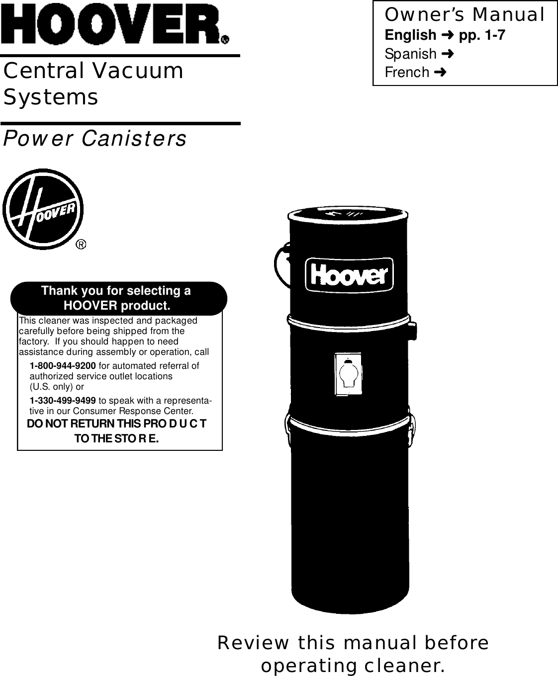 Hoover Central Vacuum Systems Users Manual