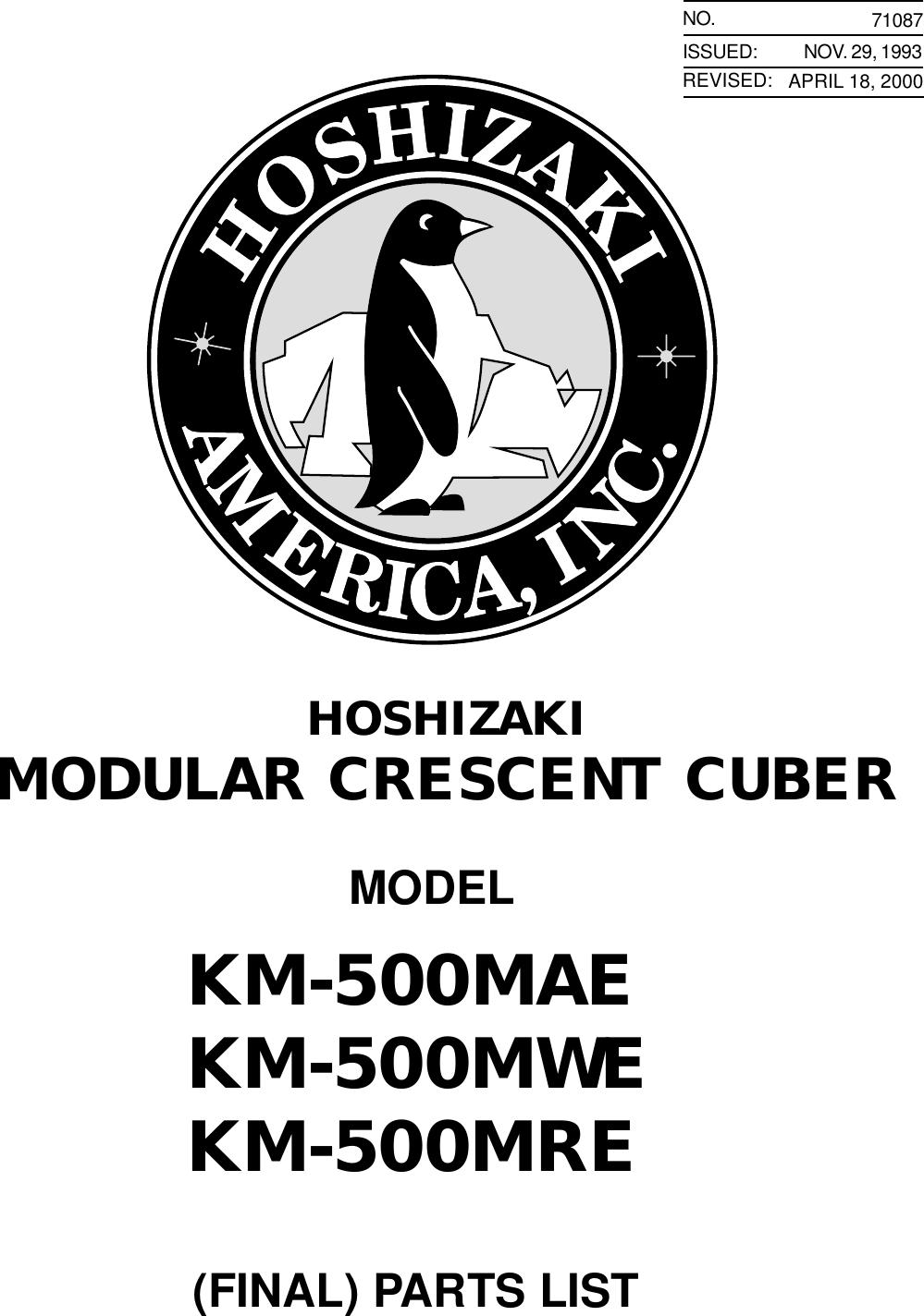 Hoshizaki Modular Crescent Cuber Km 500Mae Users Manual