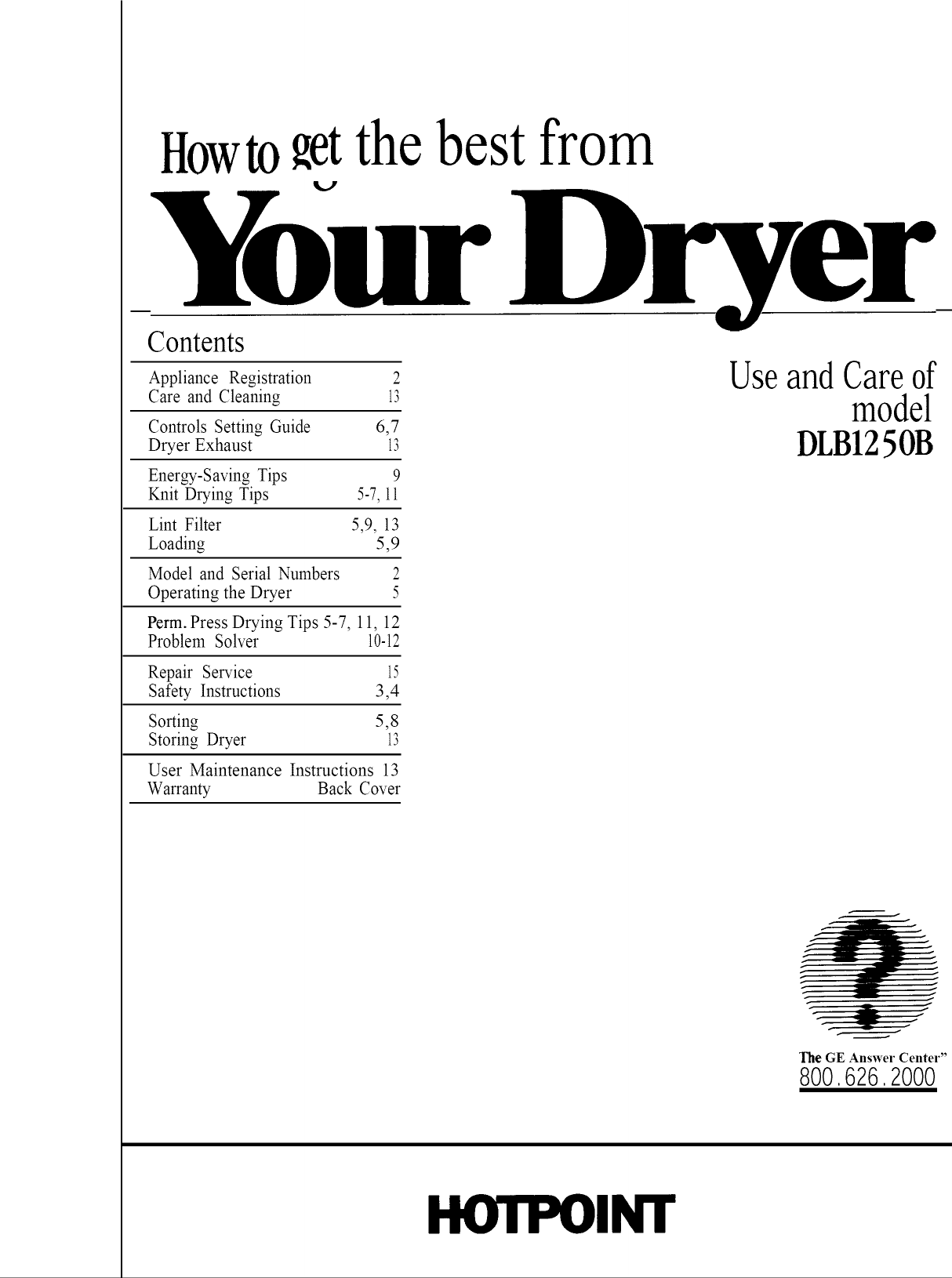 Hotpoint DLB1250BCL User Manual DRYER Manuals And Guides