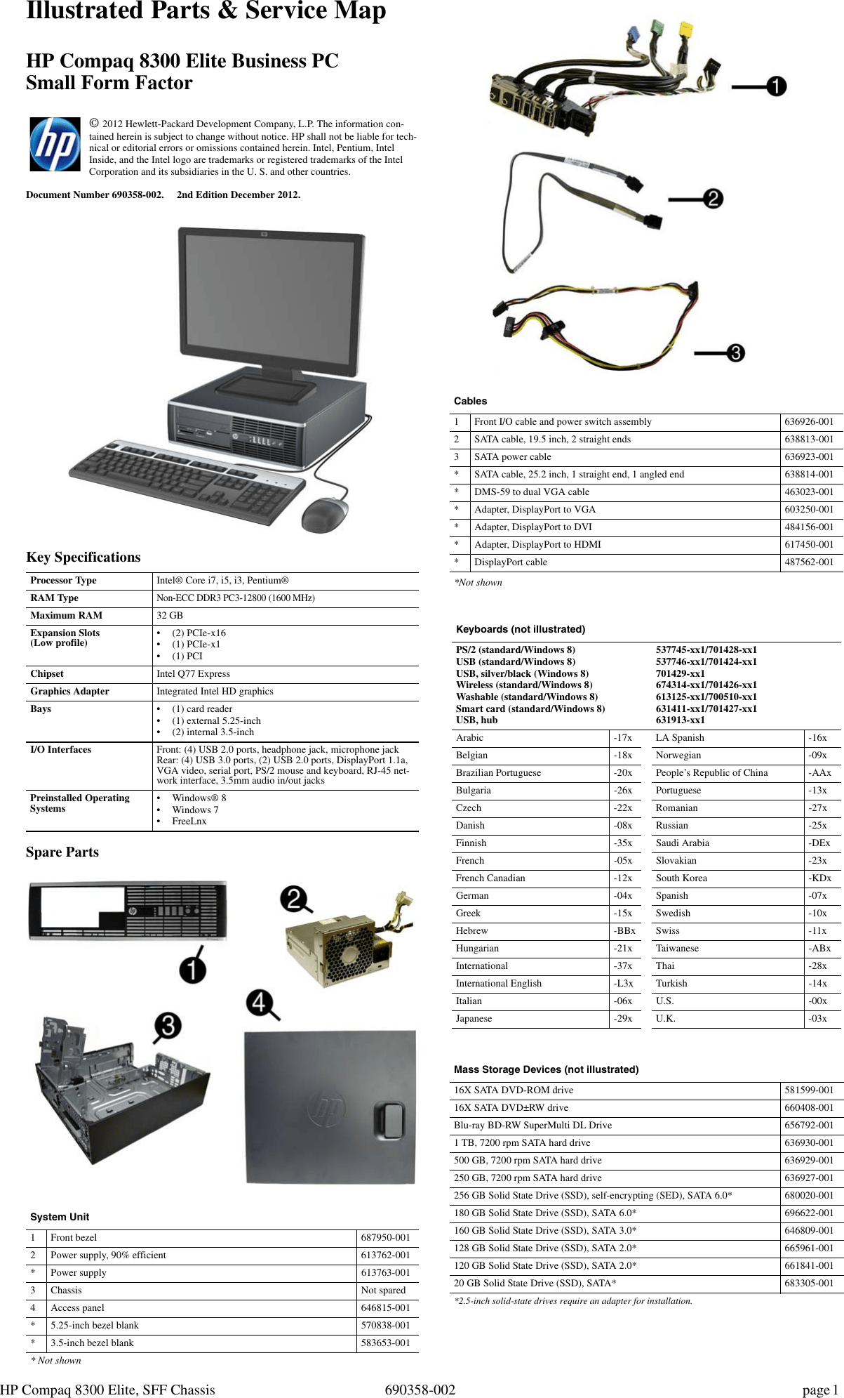 Hp Compaq Elite 8300 Small Form Factor Pc Reference Guide