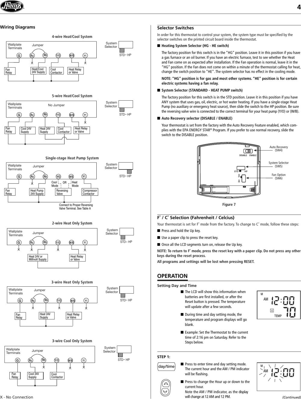 medium resolution of hunter fan 44260 users manual 41640 44260 web pmd coleman thermostat wiring diagram hunter thermostat 44260 wiring diagram 2wire