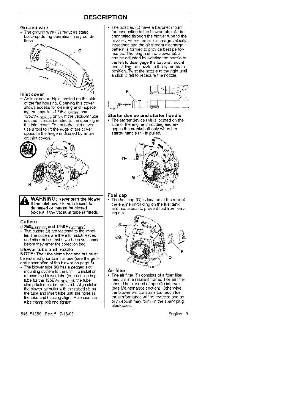Husqvarna 125BV User Manual BLOWER Manuals And Guides L0808004