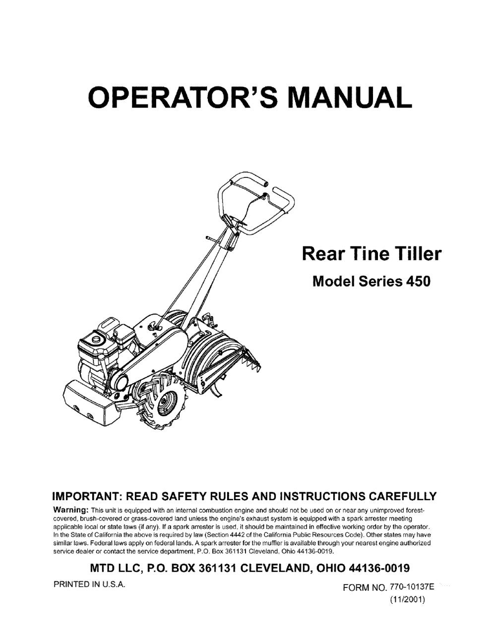 medium resolution of husqvarna 450 user manual mtd rear tine tiller manuals and guides l0401098
