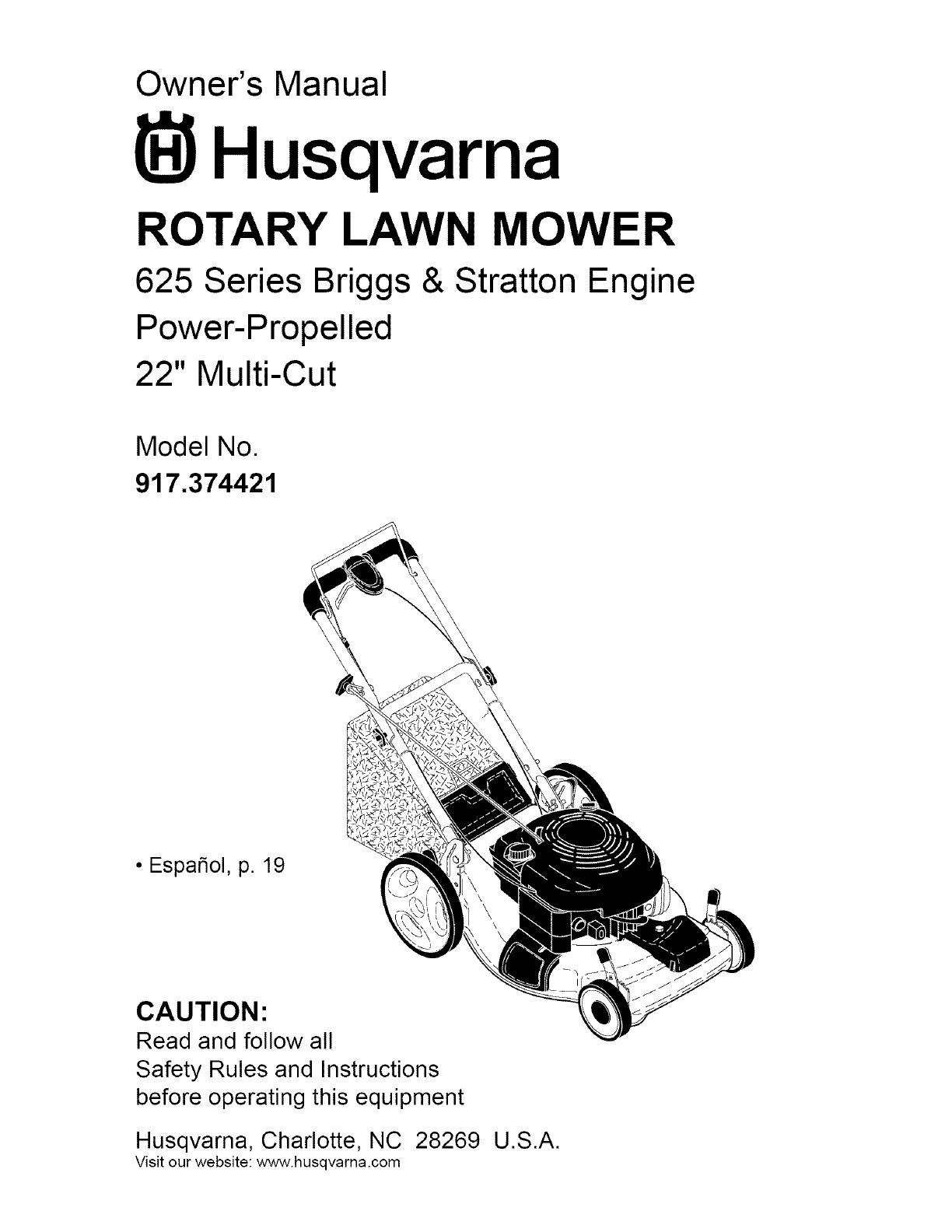 Husqvarna 917374421 User Manual LAWN MOWER Manuals And