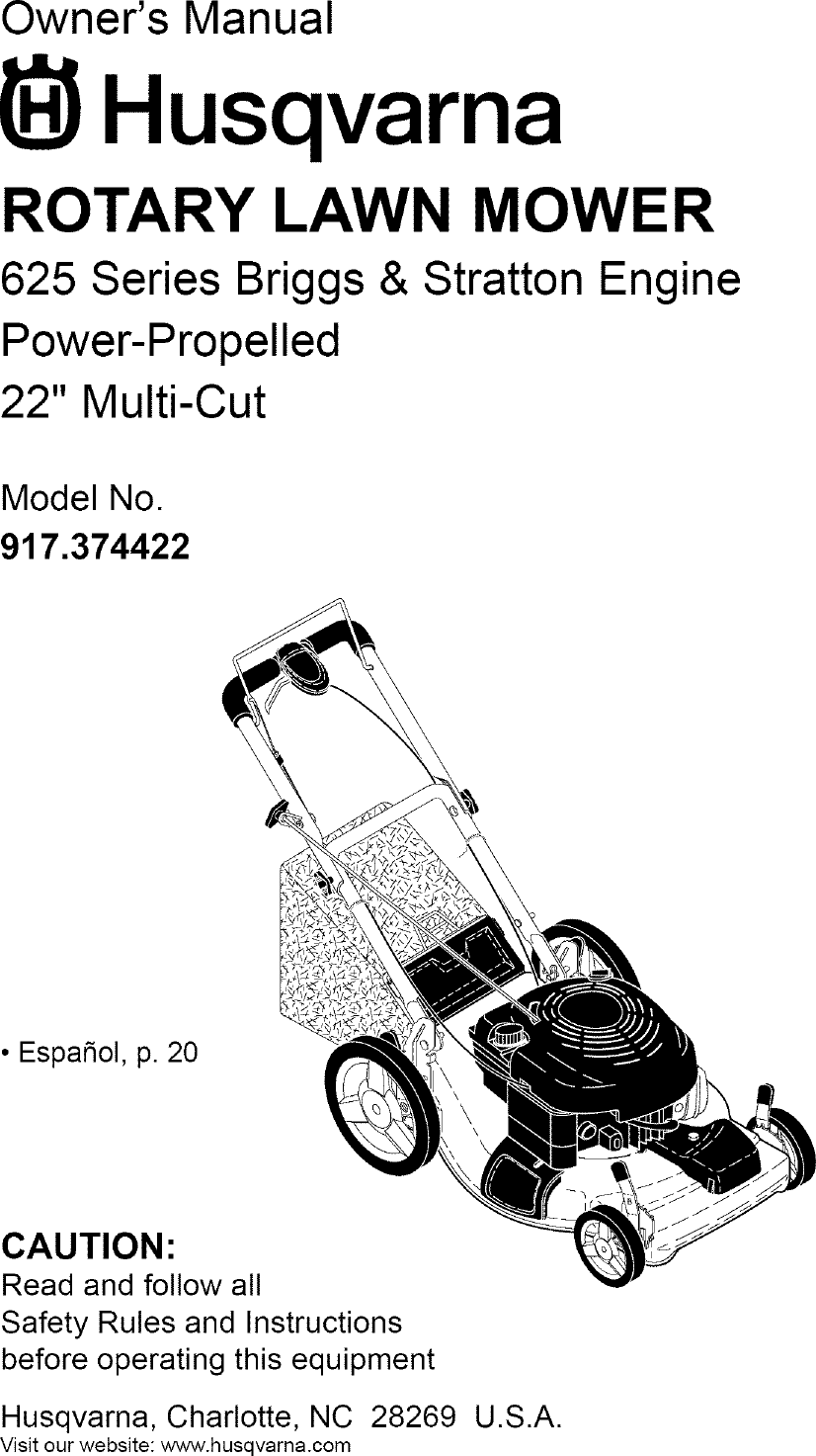 Husqvarna 917374422 User Manual LAWN MOWER Manuals And