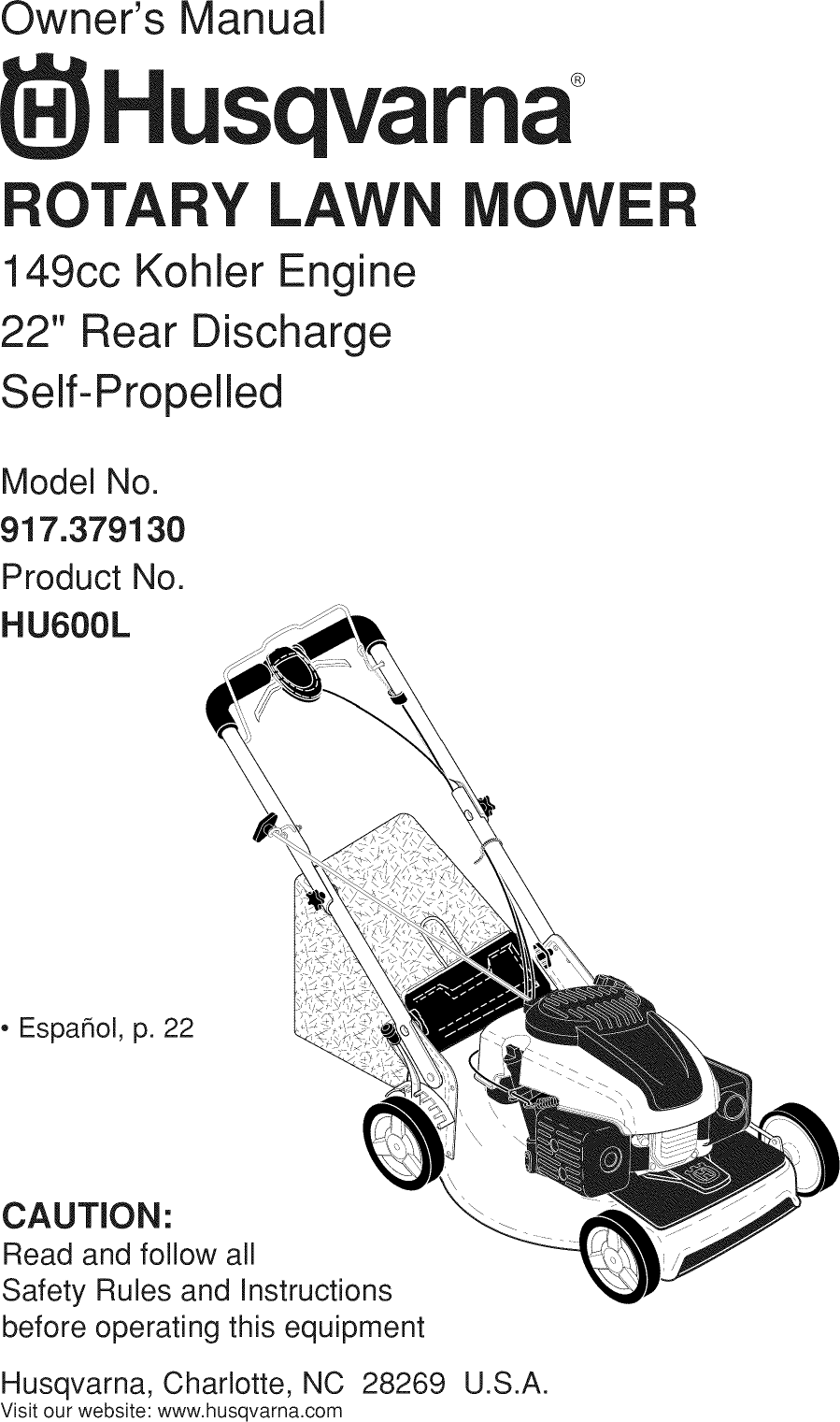 Husqvarna 917379130 User Manual MOWER Manuals And Guides