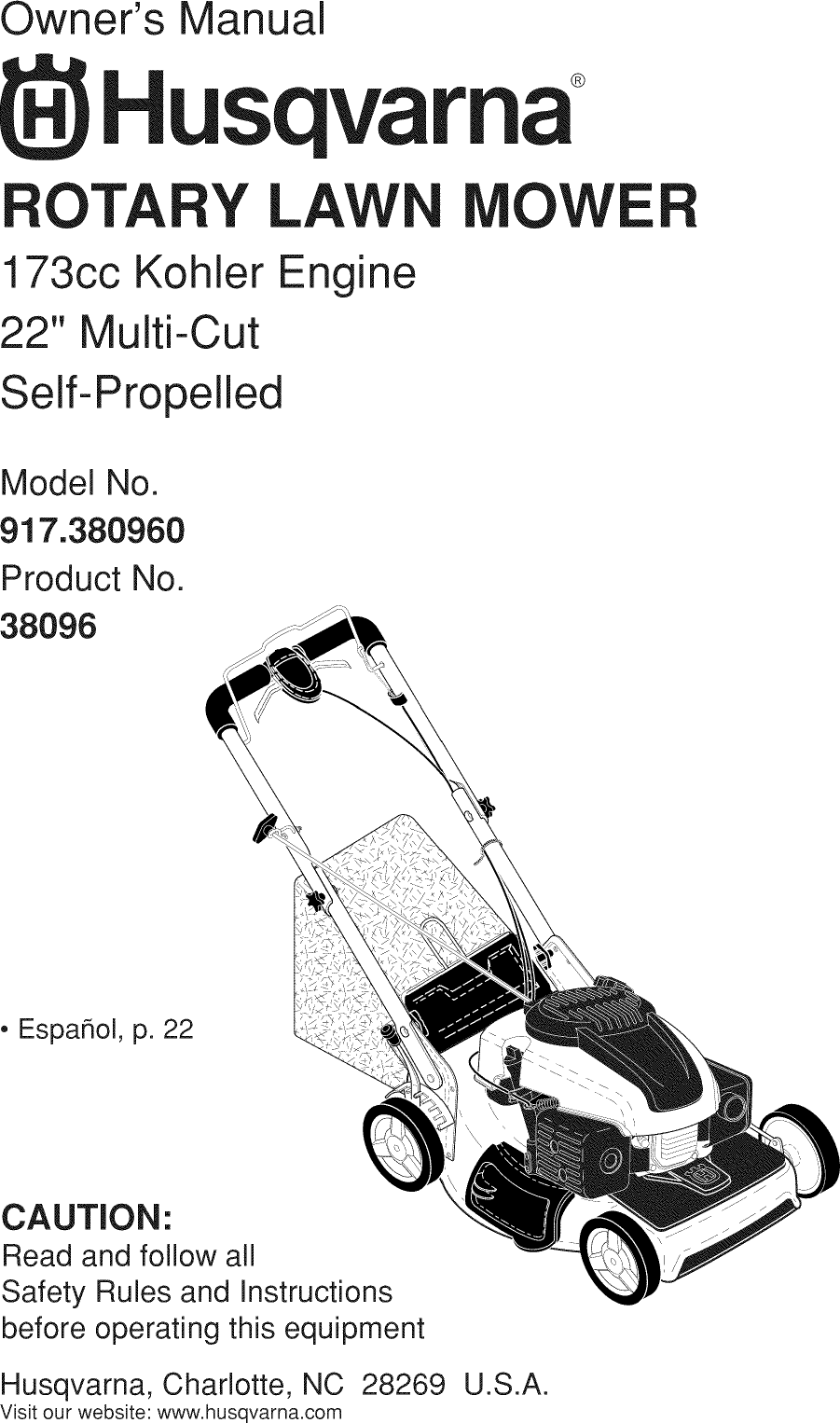 Husqvarna 917380960 1111001L User Manual LAWN MOWER