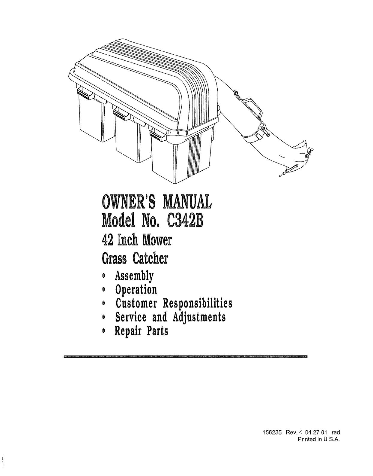 Husqvarna C342B User Manual GRASS CATCHER Manuals And