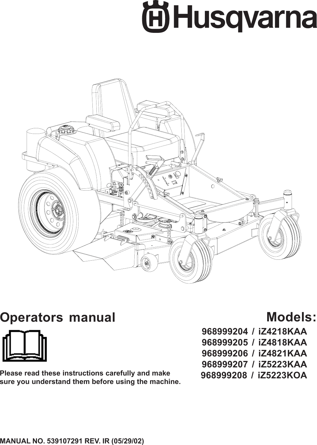 Husqvarna 968999204 Iz4218Kaa Users Manual Operator's