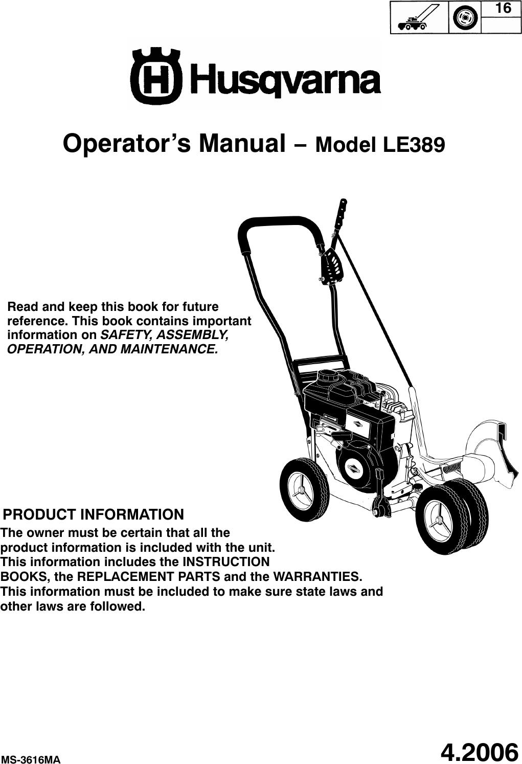 Husqvarna Le389 Users Manual OM, LE 389, 2006 04, Edger