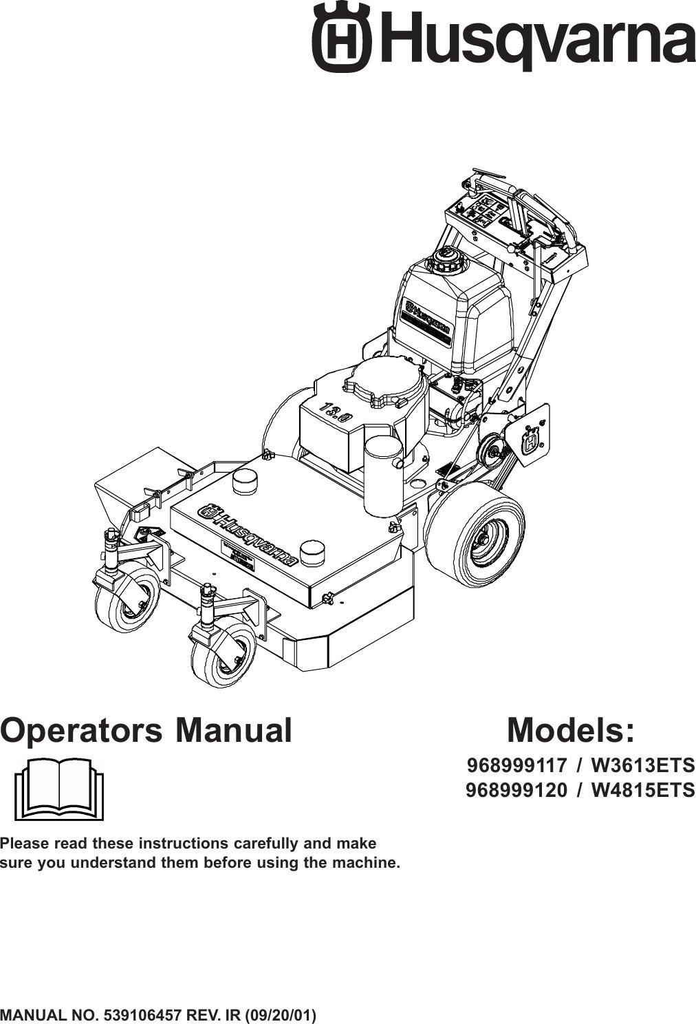 Husqvarna W3613Ets W4815Ets Users Manual OM, W 3613 ETS